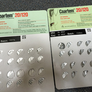 Here are two packagings of the malaria drug Coartem. The one to the right is falsified, which is revealed by the wrongly located batch number.