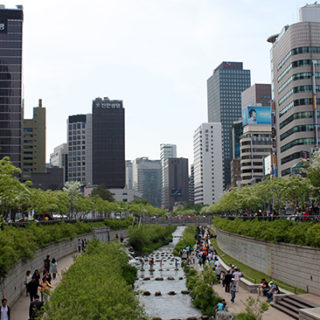 Seoul's Cheonggyecheon River displays how cities can design green space to manage flooding and improve the urban landscape.