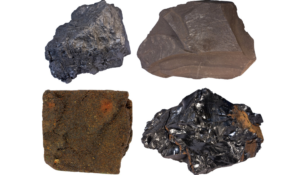 Fossil fuels bituminous coal (upper left), oil shale, tar sand, and anthracite.