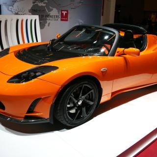 The Tesla Roadster electric car at the Paris Motor Show 2010 at Porte de Versailles, in Paris, France.