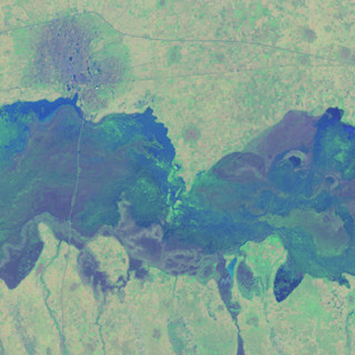 A satellite remote sensing image of an area within the semi-arid Sahel region in Africa, September 2013, based on remote sensing data from Landsat 8 satellite U.S. Geological Survey and NASA.