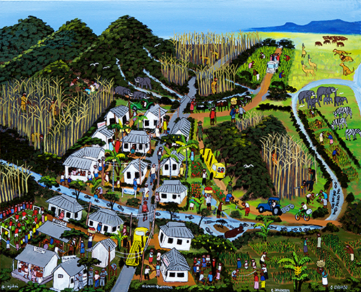 The people envision their future village with modern houses, a recovering forest and a river full of fish.