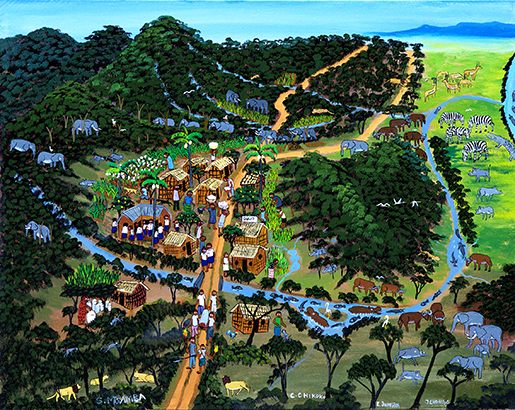This is what the village looked like before a company began to cultivate teak on a large scale. The forest, river and village were doing well.